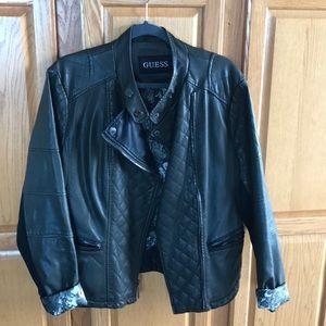 Guess dark green moto jacket